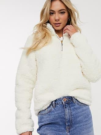 Hollister Teddy-Pullover mit Tasche mit halb langem Reißverschluss-Cremeweiß