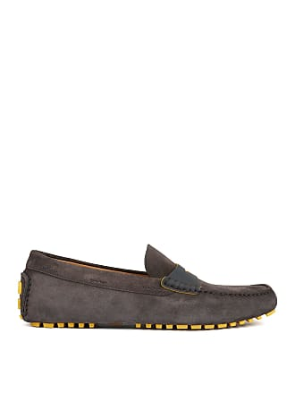 BOSS Italian-made moccasins in calf suede with penny trim