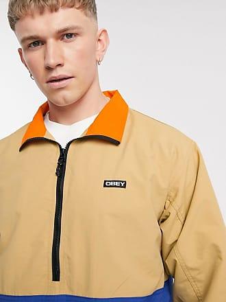 Obey Tucker half-zip jacket in stone/navy