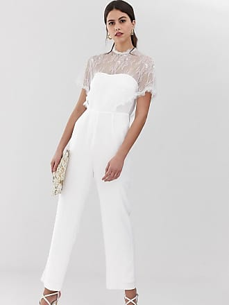 Y.A.S lace bodice jumpsuit in white - White