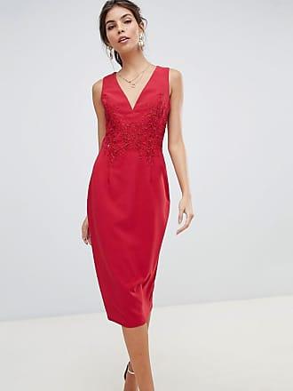 a8d6f2e14bad Little Mistress Vestito a fascia midi con applicazione a fiori e retro in  pizzo - Rosso