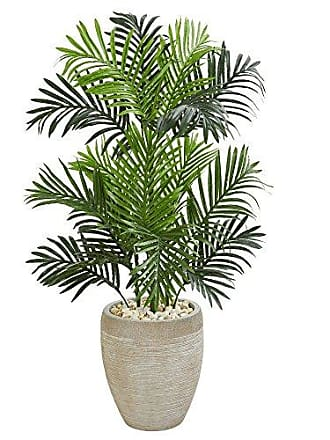 Nearly Natural 5690 Paradise Palm Artificial Sand Colored Planter Silk Trees Green