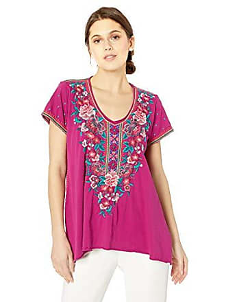 Johnny Was Womens Embroidered Draped T-Shirt, Grape S