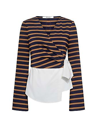 Derek Lam Bell Sleeve Striped V-neck Wrap Shirt Midnight/army