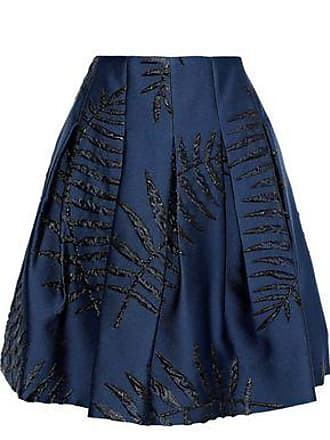 789574c0e Oscar De La Renta Oscar De La Renta Woman Pleated Metallic Satin-jacquard  Skirt Navy