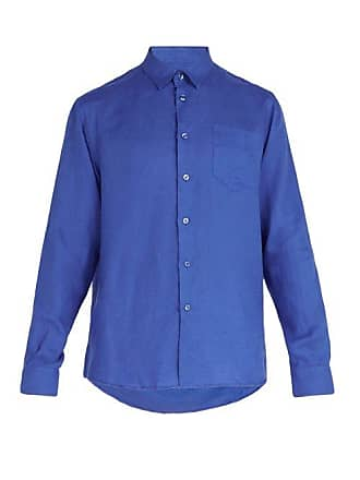 Vilebrequin Caroubis Point Collar Linen Shirt - Mens - Blue