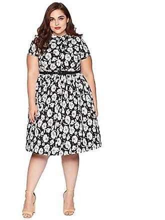 cf1e8921d2d Unique Vintage Plus Size 1960s Style Regina Shirtdress (Black White Floral)  Womens