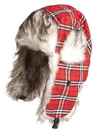 e6dc817b3fc505 Accessoryo 59cm Red Plaid Checked Trapper Hat with Faux Fur Lining