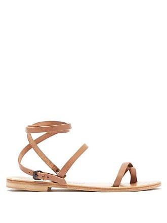 ÁLVARO GONZÁLEZ Anna Wrap Around Leather Sandals - Womens - Tan