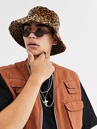 Asos Cappello da pescatore da festival con falda larga in cavallino sintetico leopardato-Multicolore