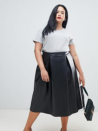 4a654794dde Asos Curve ASOS DESIGN Curve leather look full midi skirt with box pleats