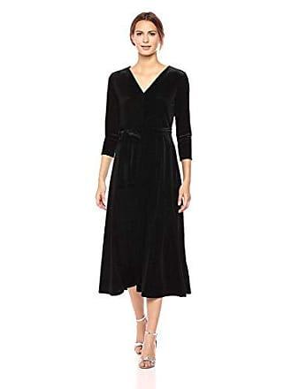 6bbf2b0bc8e Chaus Womens 3 4 Sleeve Tie Waist Sparkle Velvet Dress