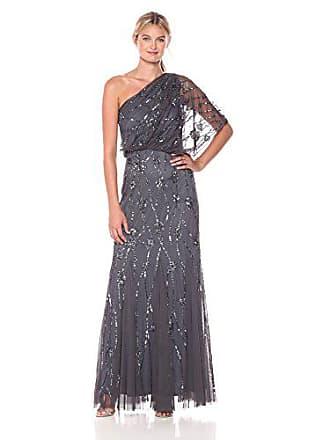 Adrianna Papell Womens One Shoulder Beaded Blouson Dress, Gunmetal, 0