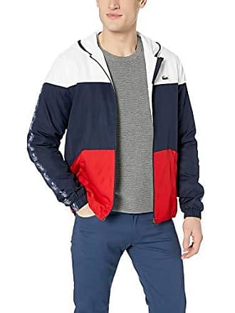 Lacoste Mens Sport Long Sleeve Croc Tape Color Blocked Wind Jacket, White/Navy Blue/red, XXX-Large