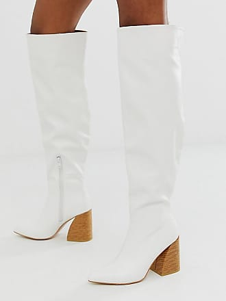 Z_Code_Z Exclusive Vitta vegan knee boots with stacked heel in white
