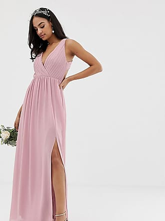 f8758e7a383 Tfnc bridesmaid exclusive pleated maxi dress with back detail in pink - Pink