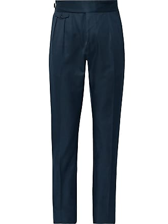 Zanella Midnight-blue Normon Tapered Pleated Cotton And Linen-blend Trousers - Midnight blue