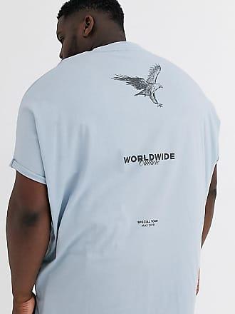 Asos Plus - Extrem Oversize-T-Shirt aus Bio-Baumwolle mit Rollärmeln und Aufdruck vorne und hinten-Blau