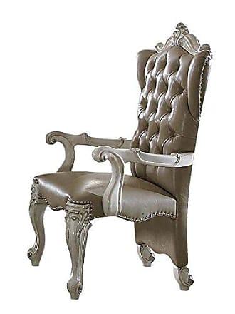 ACME ACME Versailles Vintage Gray Faux Leather Arm Chair Set of 2