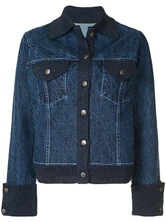 Onefifteen Jaqueta jeans com detalhe de tricô - Azul