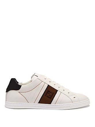 1a66d50b Fendi Logo Embroidered Low Top Leather Trainers - Mens - White Multi