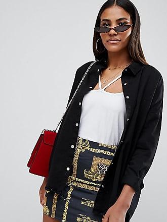 856e2e25b91e78 Missguided oversized denim shirt in black