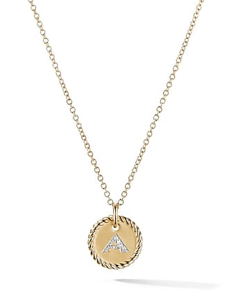 David Yurman 18kt yellow gold Cable Collectibles diamond A initial pendant necklace - 88Adi