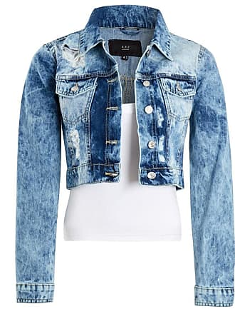 36db4fe7e4f SS7 Womens Acid Blue Denim Jacket Ladies Rip Jean Cropped Jackets Size 6 8  10 12