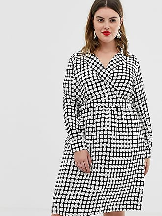 Vero Moda Curve spot wrap front midi dress - Multi