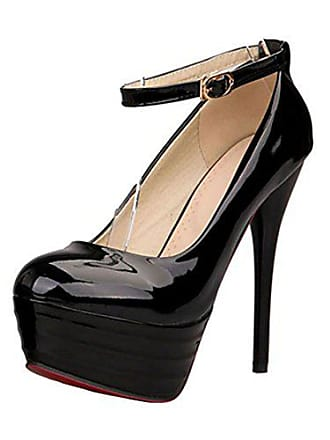 7e73e735d47dc2 Aiyoumei Damen Extreme Plateau Stiletto High Heels Lack Pumps mit Riemchen  Schuhe Hochzeit Abend Party Absatzschuhe