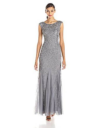 Adrianna Papell Womens Sleeveless Beaded Gown with Godets and Linear Beading, Sterling, 6
