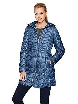 Kenneth Cole Womens Hooded Chevron Quilted Lightweight Puffer Coat with Chunky Zipper, Petrol, XS
