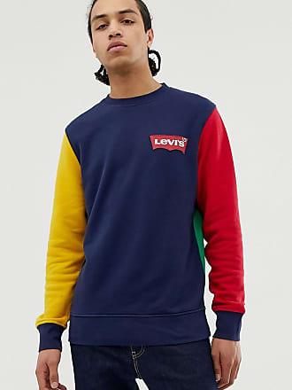803b9e3367f949 Levi's modern colourblock crewneck sweatshirt small batwing logo in  navy/red/yellow