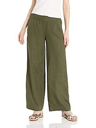Daily Ritual Womens Linen Wide-Leg Pant, Olive, 2