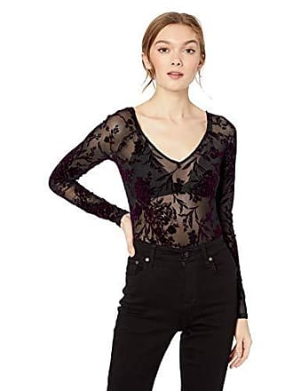 525a8cf674 Guess Womens Long Sleeve Amber Flocked Bodysuit, Jet Black/Plum Wine, XL