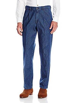 Haggar Mens Work To Weekend Medium Stonewash Denim No Iron Pleat Front Pant, Blue, 34x34