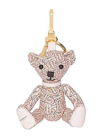 Burberry Chaveiro Thomas Bear com estampa monogramada de couro - Rosa