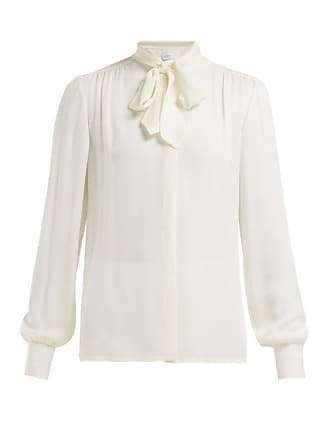 Giambattista Valli Tie Neck Silk Crepe De Chine Blouse - Womens - Ivory