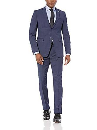 Raphael Gray With Tan Check Two Button Wool Suit Men's Clothing