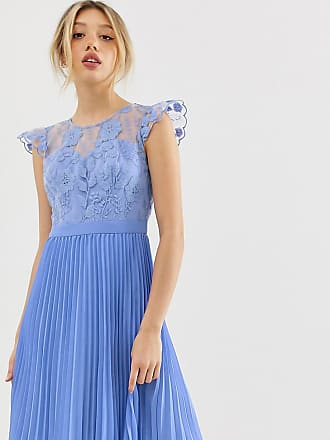 e190dd0ca5 Chi Chi London Petite midi dress with pleated skirt and embroidered top  detail in cornflower blue