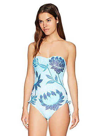 98b2ee3a21 Seafolly Womens Bandeau C/D-Cup One Piece Swimsuit, Bali Hai Iceberg,