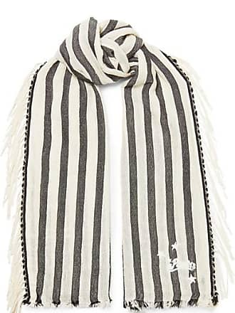 Loewe + Paulas Ibiza Fringed Striped Cotton Scarf - White