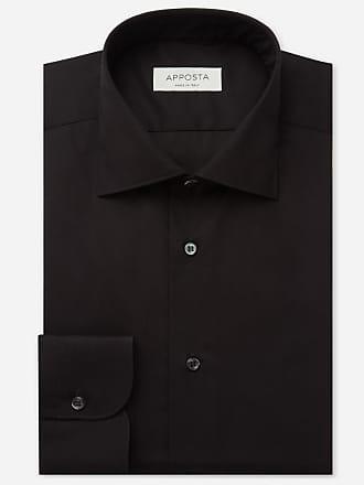 Apposta Camicia tinta unita nero 100% cotone no stiro popeline doppio ritorto, collo stile semifrancese