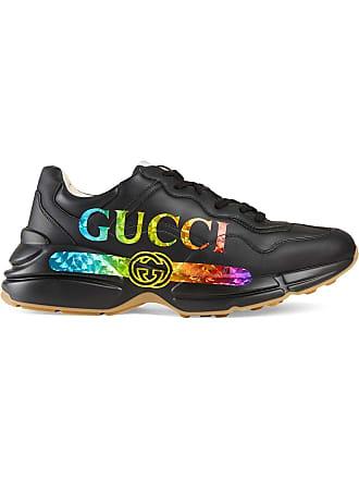 Gucci Tênis Rhyton de couro com logo - Preto 93ccfb2a7a1