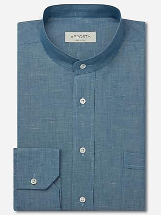 Apposta Camicia tinta unita blu lino denim lino normandia, collo stile coreana
