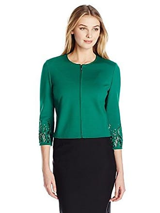 Anne Klein Womens Jewel Sleeve Zip Front Ponte Jacket, Drake, 6