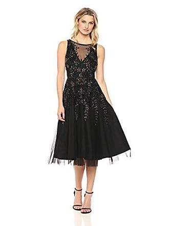 280f74d03da Aidan Mattox Womens Sleeveless Beaded Tea Length Dress