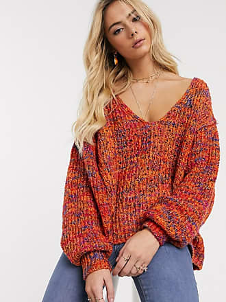 Free People Highland v-neck jumper-Orange
