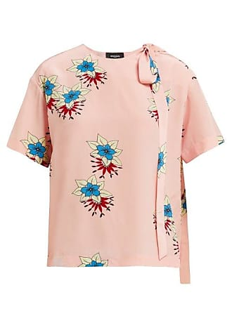 Rochas Floral Print Silk Crepe De Chine Blouse - Womens - Pink Multi
