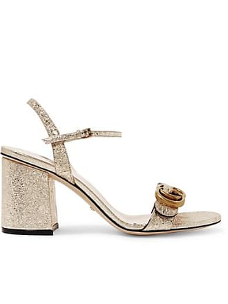 6a4bcba4452 Gucci Marmont Logo-embellished Metallic Cracked-leather Sandals - Gold
